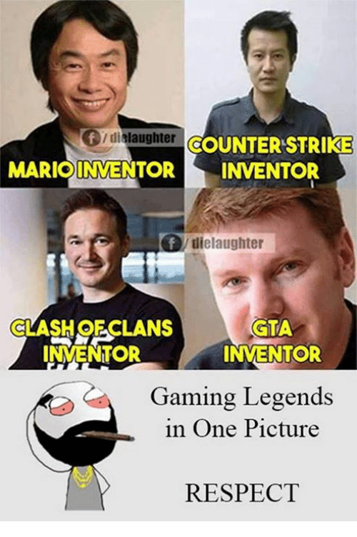 Memes, 🤖, and Gta: Of dislaughter OCOUNTERSTRIKE  MARIOINVENTOR INVENTOR  dielaughter  CLASH OECLANS  GTA  INVENTOR  INVENTOR  Gaming Legends  in One Picture  RESPECT