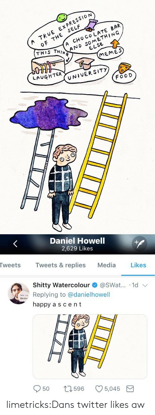 Memes, Target, and True: OF THE SELF  THIS THIN  A TRUE EXPRESSION  A CHO CO LATE 8AR  ウ、AND SOMETHING  ELSE  MEMES  LAUGHTER  UNIVERSITY  FOO D   Daniel Howell  2,629 Likes  Tweets Tweets & replies Media Likes  Shitty Watercolour + @swat...-1d ﹀  alle '  Hecter  g to @danielhowell  happy a scent  50  596  5,045 limetricks:Dans twitter likes aw