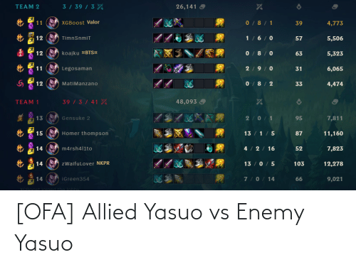 League of Legends, Enemy, and Yasuo: [OFA] Allied Yasuo vs Enemy Yasuo