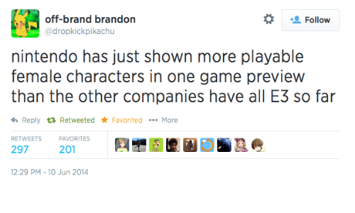 Nintendo, Game, and Brand: off-brand brandon  Follow  @dropkickpikachu  nintendo has just shown more playable  female characters in one game preview  than the other companies have all E3 so far  Reply RetweetedFavoritedMore  RETWEETSFAVORITES  297  201  12:29 PM-10 Jun 2014