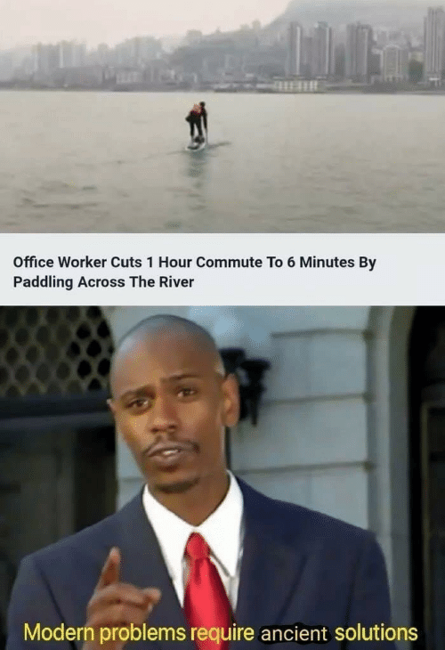 Office, Ancient, and River: Office Worker Cuts 1 Hour Commute To 6 Minutes By  Paddling Across The River  Modern problems require ancient solutions