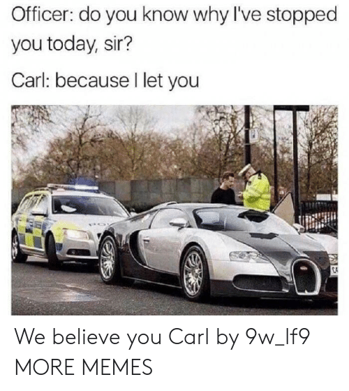 Dank, Memes, and Target: Officer: do you know why I've stopped  you today, sir?  Carl: because I let you We believe you Carl by 9w_lf9 MORE MEMES