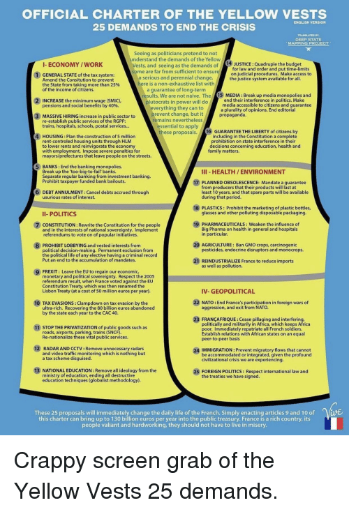 OFFICIAL CHARTER OF THE YELLOW VESTS 25 DEMANDS TO END THE