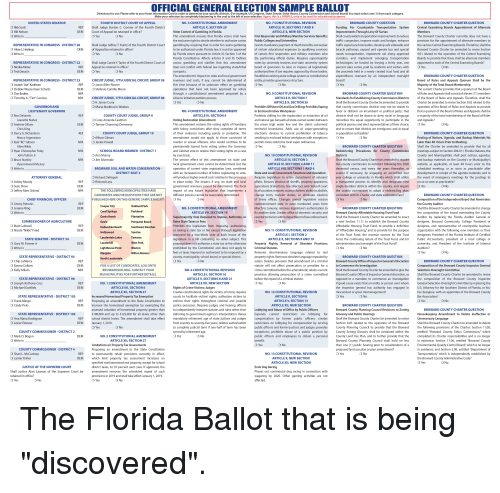 """College, Community, and Crime: OFFICIAL GENERAL ELECTION SAMPLE BALLOT  refer to your Voter Information Card  order to determine your specific districts. (For example, US Congress, S  Senate, State House, County Commission and School Board) You  t select one (1) from each category  only to be used for educational purposes.  ICT  Funding  Countyw  This amendment ens  First Responder and Milit  ry Member Survivor Benefit  Shall countywide transportati  raffic congestion, improve roads and bridges, enh  The Broward County Charter currently does not have a  ICT 2  Shall Judge Jeffrey T. Kuntz of the Fourt  ing Boards. Therefore, shall the  Charter be amended to revise Section  ated to the operation of the Central Examining  nal synchroniza  of certain first responders and  sportat  upermajority  nsportat  Boards to provide t  DI  ICT 2  Shall Judge Carole Y. Taylor of  be funded by levying a  h of the Central Exam  w regarding state/tribal  percent sales surtax, paid by resi  the proceeds  authorized fees if law requir  The amendment's impac  local governmen  ege system as c  overseen  depende  ICT 2  Majority of the Total Board Members  ave not been approved by voter  O Don Endriss  al amendmen  f the Board of Rules and Appeals. Therefore, shall the  Shall the Broward County Charter be amended to provide arter be amended to revise Sectio  n of the Board of Rules a  door Workpla  that a quorum of the Board of Rules and Appeals shall be  p of the Board of R  O Corey Amanda Cawtho  estoration Amendmen  inorities the equal opportunity to participate in the  This amendment restores the voting rights of Floridians  the mean  territorial boundaries.  electronic devices to current pro  smoki  and to ensure tha  istricts are contiguous and as equal  endment would not apply to those convicted of  urder or sexual offenses, who would continue to be  ancy Argenziano  ices, Agenda, and B  O Kyle """"KC"""" Gibson  ts more restrictive local vapor  y barred from votin  ended to provide that"""