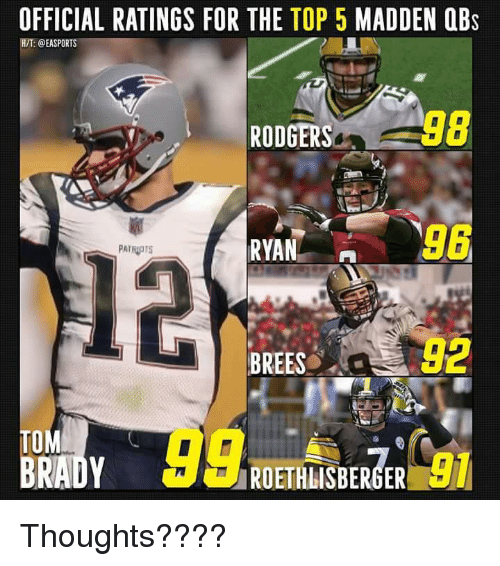 OFFICIAL RATINGS FOR THE TOP 5 MADDEN OBs HT RODGERS8 98 12 BREES 92