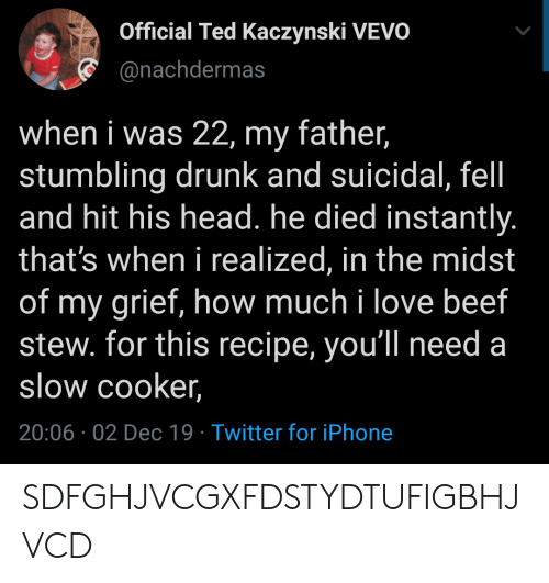 Beef, Drunk, and Head: Official Ted Kaczynski VEVO  @nachdermas  when i was 22, my father,  stumbling drunk and suicidal, fel  and hit his head. he died instantly.  that's when i realized, in the midst  of my grief, how much i love beef  stew. for this recipe, you'll need a  slow cooker,  20:06 02 Dec 19 Twitter for iPhone SDFGHJVCGXFDSTYDTUFIGBHJVCD