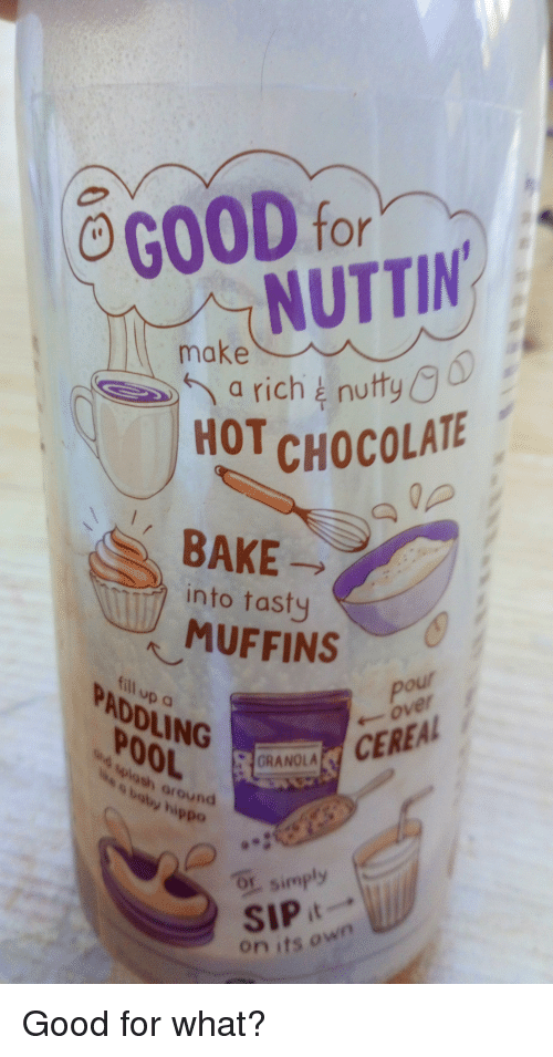 Ogood For Nuttin Make 6 A Rich Nutty Hot Choco Chocolate Bake Into
