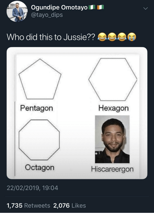 Hexagon, Pentagon, and Who: Ogundipe Omotayo  @tayo_dip:s  Who did this to Jussie??  Pentagon  Hexagon  Octagon  Hiscareergon  22/02/2019, 19:04  1,735 Retweets 2,076 Likes