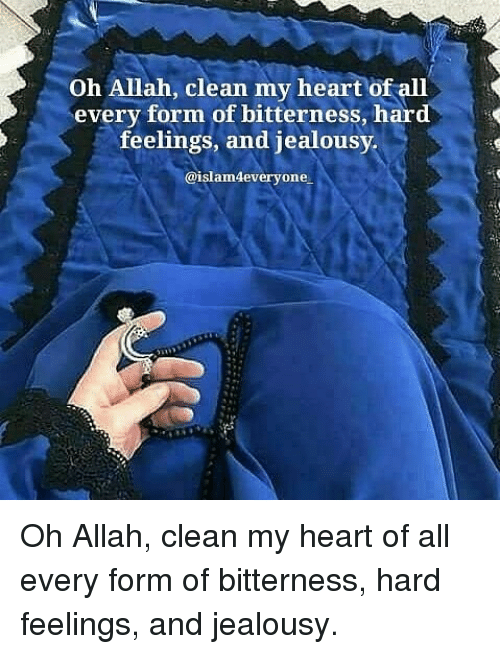 Memes, Heart, and Jealousy: Oh Allah, clean my heart of all  every form of bitterness, hard  feelings, and jealousy  @islam4everyone Oh Allah, clean my heart of all every form of bitterness, hard feelings, and jealousy.