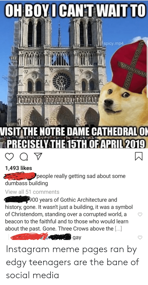Bane, Instagram, and Meme: OH BOYICAN'T WAITTO  spicy mp4  VISITTHE NOTRE DAME CATHEDRALON  PRECİSELY THE 15TH OF.APRIL 2019.  1,493 likes  people really getting sad about some  dumbass building  View all 51 comments  00 years of Gothic Architecture and  history, gone. It wasn't just a building, it was a symbol  of Christendom, standing over a corrupted world, a  beacon to the faithful and to those who would learn  about the past. Gone. Three Crows above the [...]  gay Instagram meme pages ran by edgy teenagers are the bane of social media