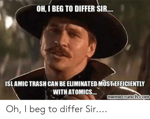 Oh I Beg To Differ Sir Islamic Trash Can Be Eliminated Most Efficiently With Atomics Memecrunchcom Oh I Beg To Differ Sir Trash Meme On Me Me