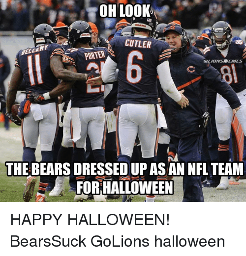 29090aaab27 Detroit Lions, Halloween, and Ups: OH LOO CUTLER PORTER CLIONSOMEMES THE  BEARS DRESSED