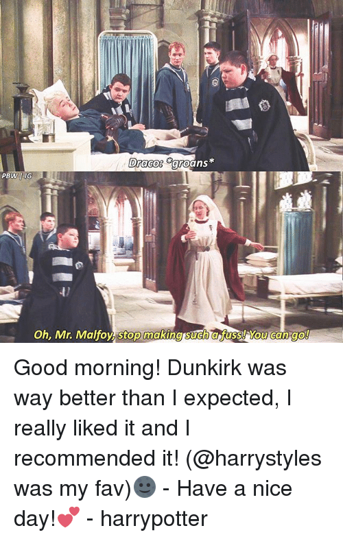 Memes, Good Morning, and Good: Oh, Mr. Malfoy, stop making such a fuss! You can go Good morning! Dunkirk was way better than I expected, I really liked it and I recommended it! (@harrystyles was my fav)🌚 - Have a nice day!💕 - harrypotter