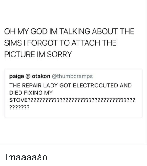 God, Oh My God, and Sorry: OH MY GOD IM TALKING ABOUT THE  SIMS I FORGOT TO ATTACH THE  PICTURE IM SORRY  paige @ otakon @thumbcramps  THE REPAIR LADY GOT ELECTROCUTED AND  DIED FIXING MY  STOVE????????????????????????????????????? lmaaaaáo