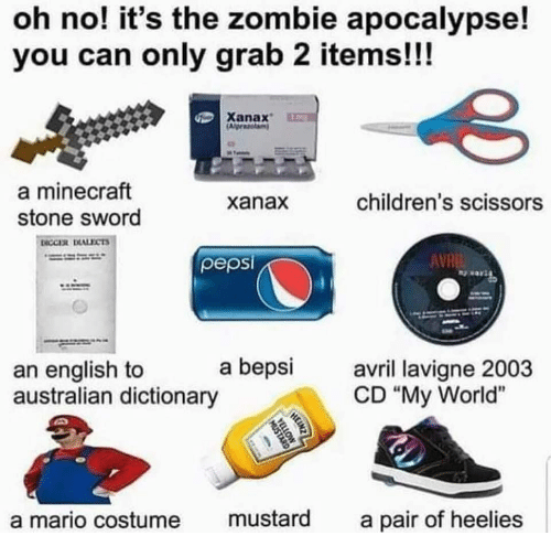"""Minecraft, Mario, and Xanax: oh no! it's the zombie apocalypse!  you can only grab 2 items!!!  Xanax  a minecraft  stone sword  xanax  children's scissors  pepsi  AVR  an english to a bepsi  australian dictionary  avril lavi  CD """"My World""""  a mario costume mustard a pair of heelies"""