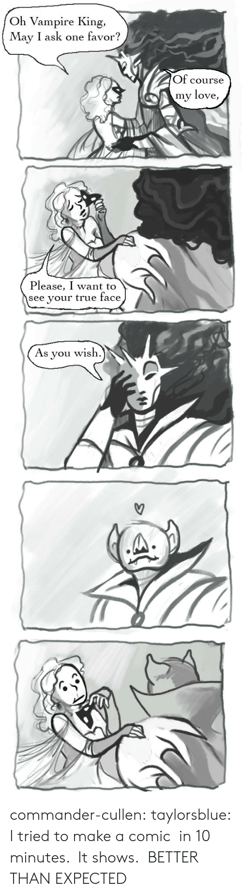 Love, True, and Tumblr: Oh Vampire King  May I ask one favor?  Of course  my love,  Please, I want to  see your true face  wish  As  you commander-cullen: taylorsblue:  I tried to make a comic in 10 minutes. It shows.  BETTER THAN EXPECTED