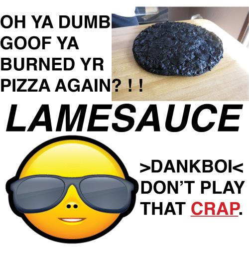 Oh Ya Dumb Goofya Burned Yr Pizza Again Lame Sauce Dankbois Dont