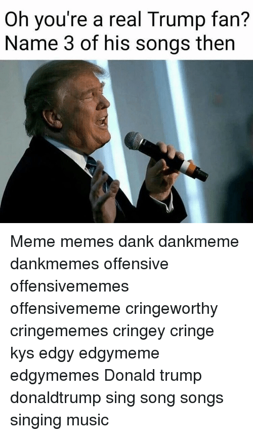Donald Trump, Memes, and Singing: Oh you're a real Trump fan?  Name 3 of his songs then Meme memes dank dankmeme dankmemes offensive offensivememes offensivememe cringeworthy cringememes cringey cringe kys edgy edgymeme edgymemes Donald trump donaldtrump sing song songs singing music