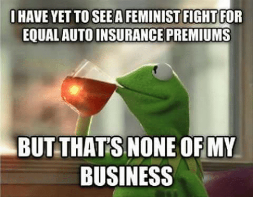 Business, Fight, and Insurance: OHAVE YET TO SEEA FEMINIST FIGHT FOR  EQUAL AUTO INSURANCE PREMIUMS  BUT THAT'S NONE OF MY  BUSINESS