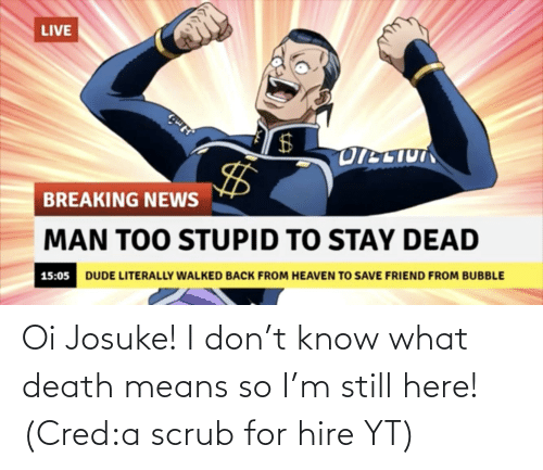 Death, Don, and Means: Oi Josuke! I don't know what death means so I'm still here! (Cred:a scrub for hire YT)