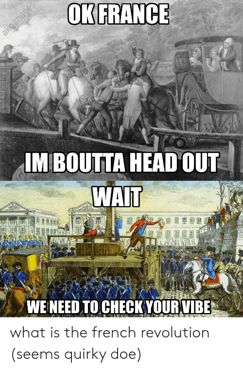 Doe, Head, and France: OK FRANCE  akgimages  akg  IM BOUTTA HEAD OUT  WAIT  WE NEED TO CHECK YOUR VIBE what is the french revolution (seems quirky doe)