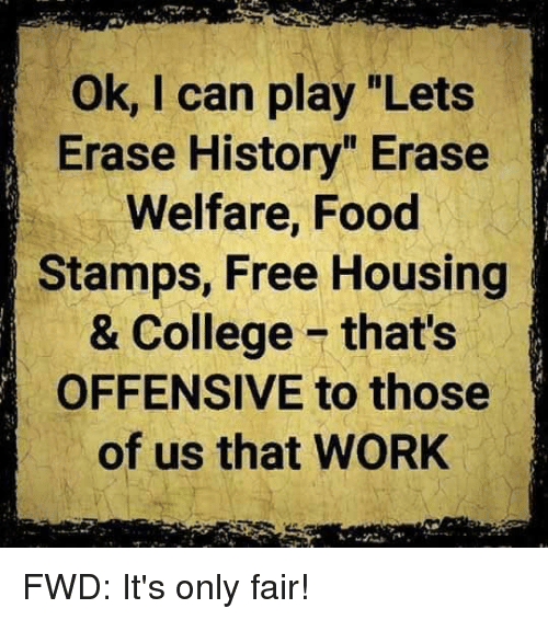Ok I Can Play Lets Erase History Erase Welfare Food Stamps