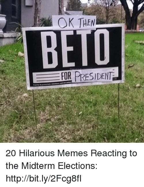 Memes, Http, and Hilarious: OK THEN  BETD  FOR PRESIDENT 20 Hilarious Memes Reacting to the Midterm Elections: http://bit.ly/2Fcg8fI