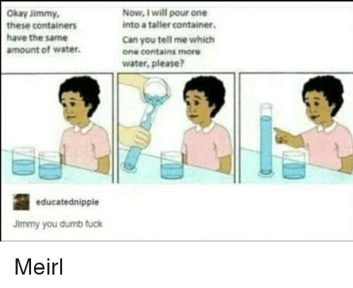 Dumb, Fuck, and Okay: Okay Jimmy  these containers  have the same  amount of water.  Now, I will pour one  into a taller container.  Can you tell me which  one contains more  water, please?  educatednipple  Jimmy you dumb fuck Meirl