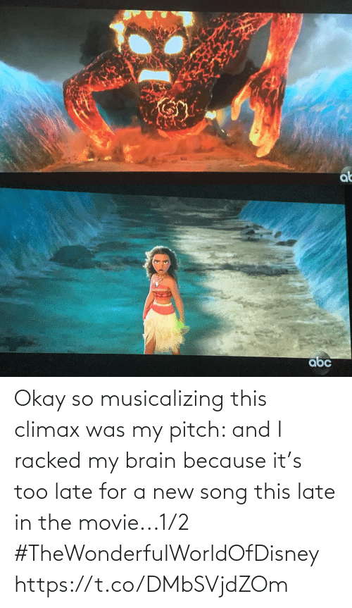 Memes, Brain, and Movie: Okay so musicalizing this climax was my pitch: and I racked my brain because it's too late for a new song this late in the movie...1/2 #TheWonderfulWorldOfDisney https://t.co/DMbSVjdZOm