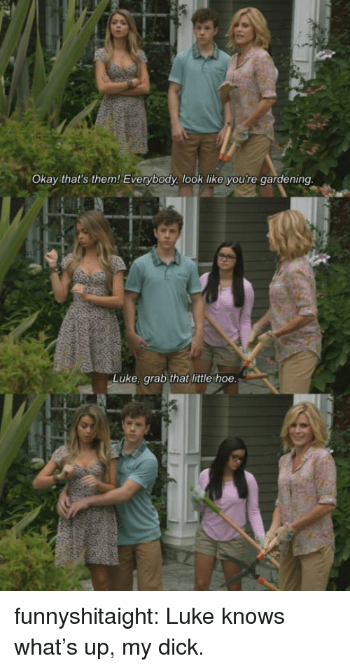 Hoe, Tumblr, and Blog: Okay that's them! Everybody, look like you're gardening  Luke, grab that little hoe. funnyshitaight: Luke knows what's up, my dick.