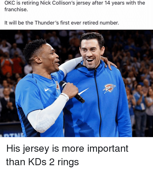 Nba, Nick, and Jersey: OKC is retiring Nick Collison's jersey after 14 years with the  franchise.  It will be the Thunder's first ever retired number. His jersey is more important than KDs 2 rings