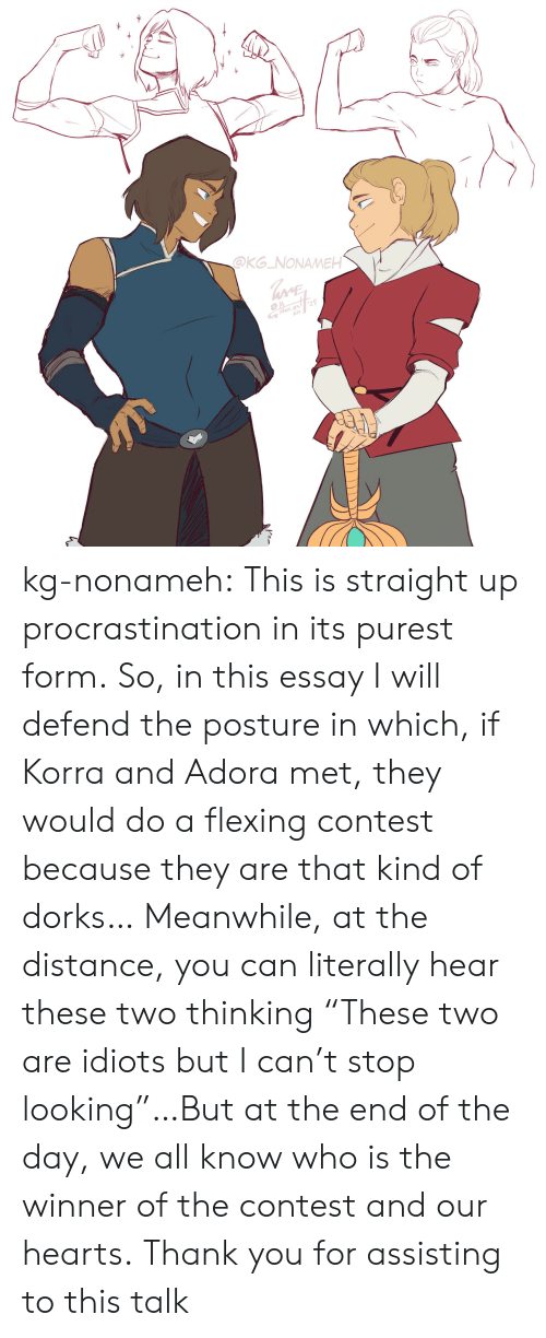 """Tumblr, Thank You, and Blog: OKG NONAMEH  19  ざ.05 kg-nonameh:  This is straight up procrastination in its purest form.  So, in this essay I will defend the posture in which, if Korra and Adora met, they would do a flexing contest because they are that kind of dorks…Meanwhile, at the distance, you can literally hear these two thinking """"These two are idiots but I can't stop looking""""…But at the end of the day, we all know who is the winner of the contest and our hearts.Thank you for assisting to this talk"""