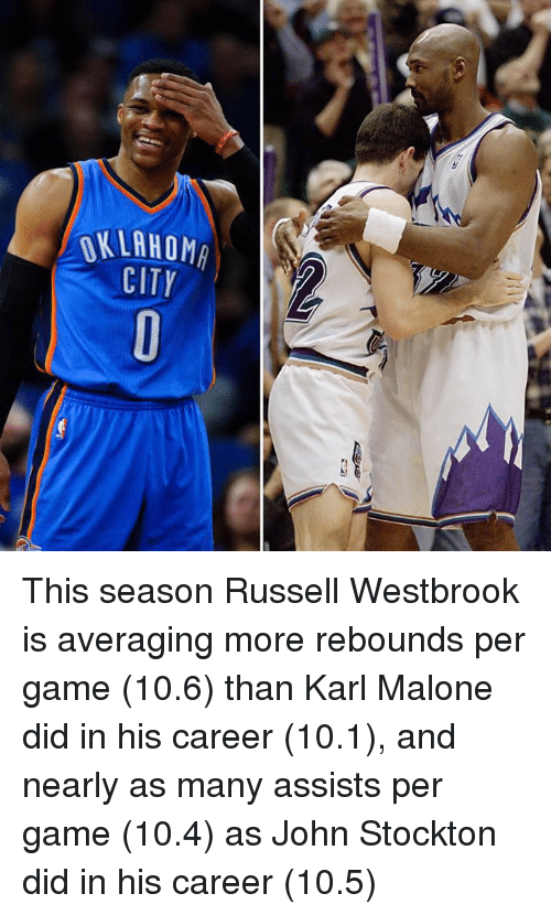 Memes, Russell Westbrook, and Oklahoma: OKLAHOMA  CITY This season Russell Westbrook is averaging more rebounds per game (10.6) than Karl Malone did in his career (10.1), and nearly as many assists per game (10.4) as John Stockton did in his career (10.5)