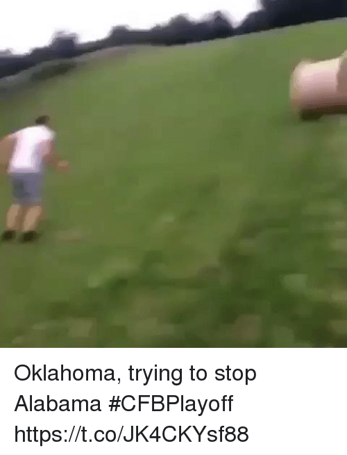 Sports, Alabama, and Oklahoma: Oklahoma, trying to stop Alabama #CFBPlayoff https://t.co/JK4CKYsf88