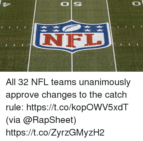 Memes, Nfl, and 🤖: Ol  NIFL All 32 NFL teams unanimously approve changes to the catch rule: https://t.co/kopOWV5xdT (via @RapSheet) https://t.co/ZyrzGMyzH2