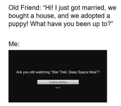 "Star Trek, House, and Puppy: Old Friend: ""Hi! I just got married, we  bought a house, and we adopted a  puppy! What have you been up to?""  Me:  Are you still watching ""Star Trek: Deep Space Nine""?  Continue watching  Back"