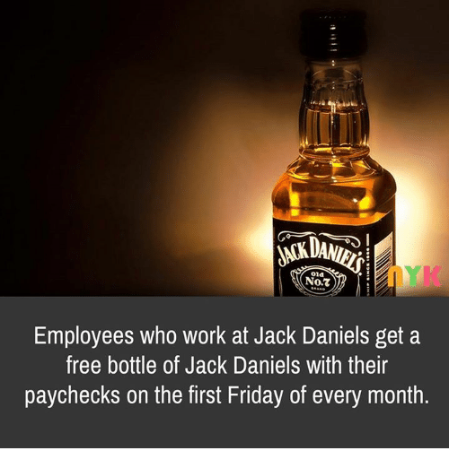 old not employees who work at jack daniels get a free bottle of jack