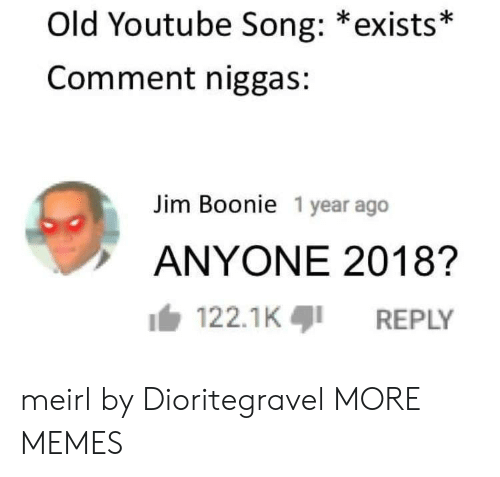 Dank, Memes, and Target: Old Youtube Song: *exists*  Comment niggas:  Jim Boonie 1 year ago  ANYONE 2018?  122.1KREPLY meirl by Dioritegravel MORE MEMES