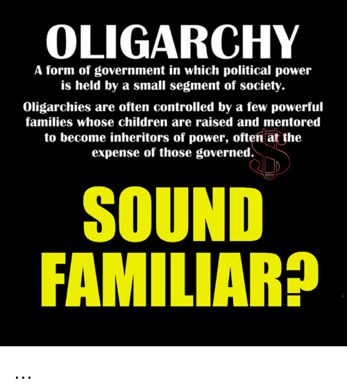 oligarchy a form of government in which political power is held by a