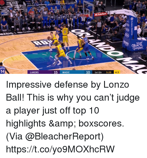 Los Angeles Lakers, Memes, and Magic: Olive  Ganden  14  15 MAGIC  10 1st Qtr 5:28  4.3  LAKERS Impressive defense by Lonzo Ball! This is why you can't judge a player just off top 10 highlights & boxscores.   (Via @BleacherReport)    https://t.co/yo9MOXhcRW