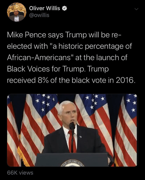 "Black, Trump, and Black Voices: Oliver Willis  @owillis  Mike Pence says Trump will be re-  elected with ""a historic percentage of  African-Americans"" at the launch of  Black Voices for Trump. Trump  received 8% of the black vote in 2016.  UN  OF THE  NT  66K views"