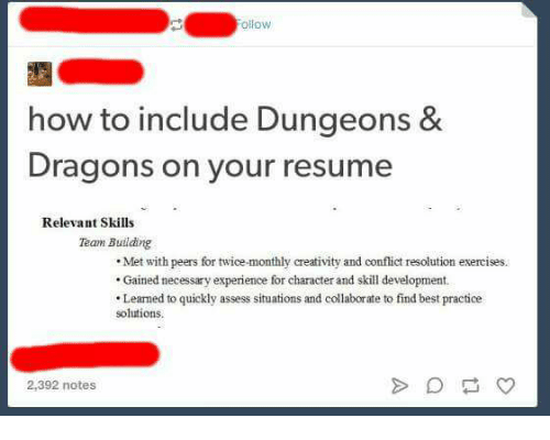 ollow how to include dungeons 8 dragons on your resume