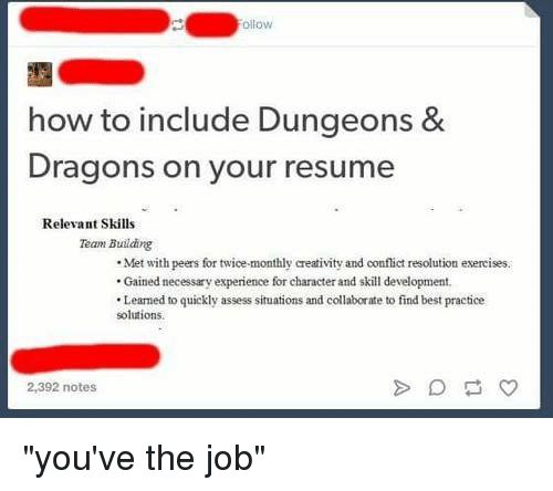 Ollow How to Include Dungeons & Dragons on Your Resume Relevant ...