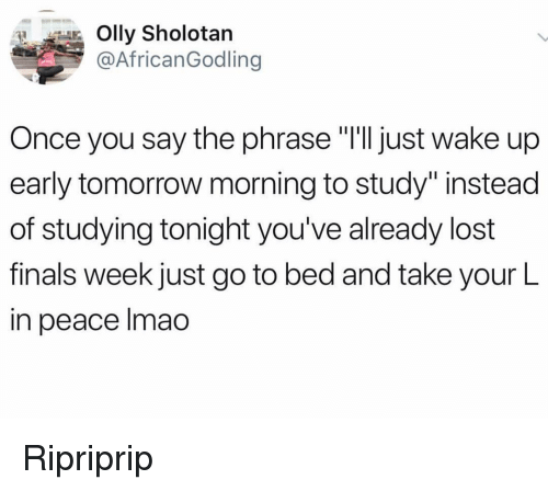 "Finals, Lmao, and Memes: Olly Sholotan  @AfricanGodling  Once you say the phrase ""T'll just wake up  early tomorrow morning to study""instead  of studying tonight you've already lost  finals week just go to bed and take your L  in peace lmao Ripriprip"