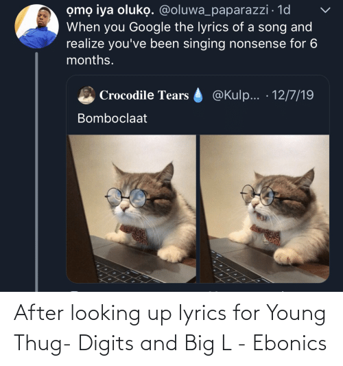 Ebonics, Google, and Singing: omọ iya oluko. @oluwa_paparazzi · 1d  When you Google the lyrics of a song and  realize you've been singing nonsense for 6  months.  @Kulp... · 12/7/19  Crocodile Tears  Bomboclaat After looking up lyrics for Young Thug- Digits and Big L - Ebonics
