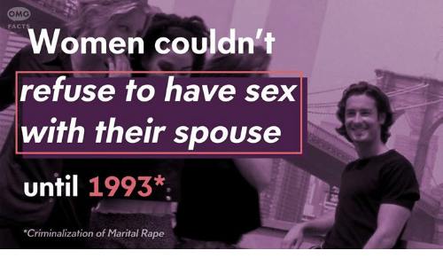 Facts, Memes, and Omg: OMG  FACTS  Women couldn't  refuse to have sex  with their spouse  until 1993*  Criminalization of Marital Rape