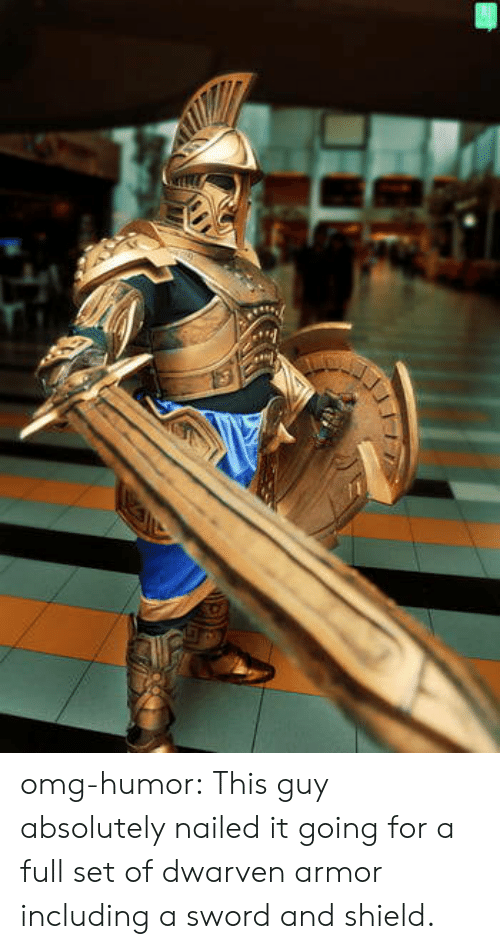 Omg, Tumblr, and Blog: omg-humor:  This guy absolutely nailed it going for a full set of dwarven armor including a sword and shield.