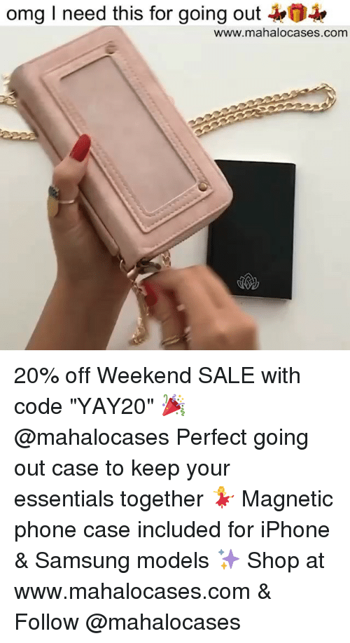"""Iphone, Memes, and Omg: omg I need this for going out  www.mahalocases.com 20% off Weekend SALE with code """"YAY20"""" 🎉 @mahalocases Perfect going out case to keep your essentials together 💃 Magnetic phone case included for iPhone & Samsung models ✨ Shop at www.mahalocases.com & Follow @mahalocases"""