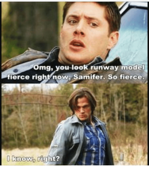 Memes, 🤖, and Model: omg, you look runway model  fierce right now Samifer. So fierce.  I know. right?