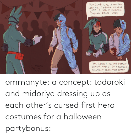 Halloween, Party, and Target: ommanyte:  a concept: todoroki and midoriya dressing up as each other's cursed first hero costumes for a halloween partybonus: